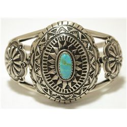 Old Pawn Navajo Royston Turquoise Sterling Silver Cuff Bracelet - Shakey
