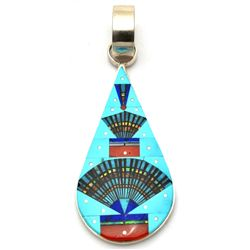 Navajo Turquoise Night Sky Sterling Silver Pendant - Erwin Tsosie