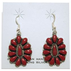 Navajo Coral Cluster Sterling Silver French Hook Earrings - Lisa Williams