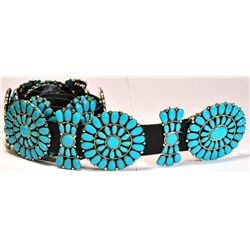 Navajo Turquoise Sterling Silver Concho Belt - Juliana Williams