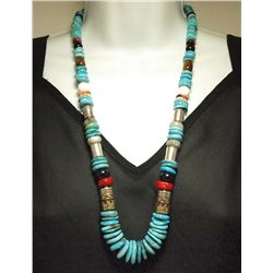 "Navajo Turquoise & Multi-Stone 26"" Necklace - Tommy Singer"