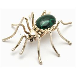Navajo Malachite Sterling Silver Spider Pin - Emily Spencer