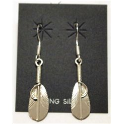 Navajo Sterling Silver Feather French Hook Earrings - Chris Charley