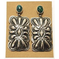 Navajo Spider Web Turquoise Sterling Silver Post Earrings - Darryl Becenti