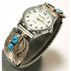 Navajo Turquoise Sterling Silver Feather Men's Watch - Virgil Reeder