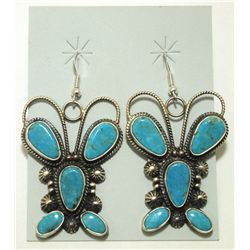 Navajo Turquoise Sterling Silver Butterfly French Hook Earrings - Dean Brown