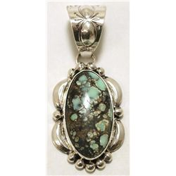 Navajo New Lander Turquoise Sterling Silver Pendant - Mary Ann Spencer