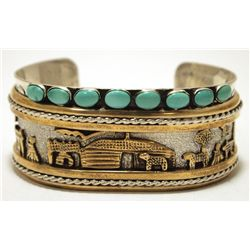Navajo Turquoise 12k Gold Fill Pueblo over Sterling Silver Cuff Bracelet - Nelvin Burbank