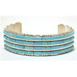Zuni Turquoise Overlay Sterling Silver Cuff Bracelet - Sheldon Lalio