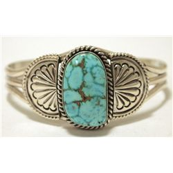 Navajo Blue Gem Turquoise Sterling Silver Cuff Bracelet - Mary Ann Spencer