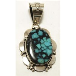 Navajo Blue Diamond Turquoise Sterling Silver Pendant - Mary Ann Spencer