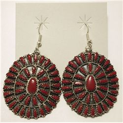 Navajo Coral Needlepoint Sterling Silver French Hook Earrings - Violet Begay