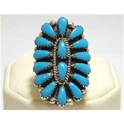 Navajo Turquoise Cluster Sterling Silver Women's Ring - Renee Williams