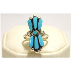 Zuni Turquoise Sterling Silver Women's Ring - M. Eustace