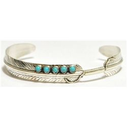Navajo Turquoise Dots Sterling Silver Feather Bracelet - Chris Charley