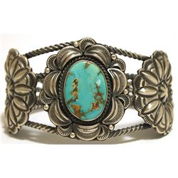 Old Pawn Navajo Mountain Turquoise Sterling Silver Cuff Bracelet - RH Boyd