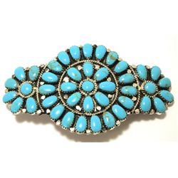 Navajo Turquoise Cluster Sterling Silver Hair Barrette - Juliana Williams