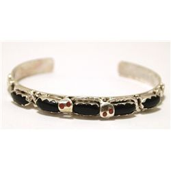 Zuni Onyx Sterling Silver Snakes with Coral Eyes Cuff Bracelet - Effie Calavaza