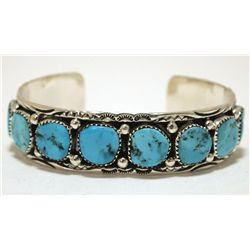 Navajo Turquoise Sterling Silver Cuff Bracelet - Marie Thompson