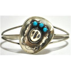 Navajo Turquoise Sterling Silver Cowboy Hat Cuff Bracelet - Running Bear