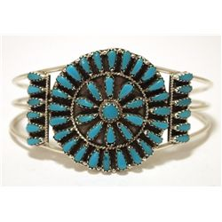 Navajo Turquoise Needlepoint Sterling Silver Cuff Bracelet - Violet Begay