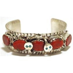 Zuni Coral Sterling Silver Snake with Turquoise Eyes Cuff Bracelet - Effie Calavaza