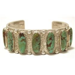 Old Pawn Santo Domingo Royston Turquoise Sterling Silver Cuff Bracelet - Ca'Win - Jimmy Calabaza