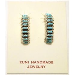 Zuni Turquoise Sterling Silver Half-Ring Post Earrings - Roland Quam