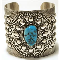 Navajo Turquoise Sterling Silver Tall Cuff Bracelet - Wilbert Benally