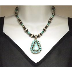 Navajo Lone Mountain Turquoise Sterling Silver Necklace - La Rose Ganadonegro