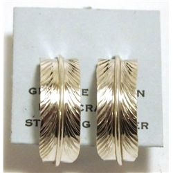 Navajo Sterling Silver Feather Half-Ring Post Earrings - Chris Charley