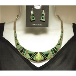 Carico Lake & Onyx Sterling Silver Necklace & Earrings Set -_ Yellowhair - 71.3g