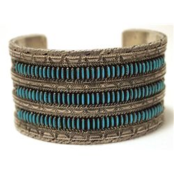 Vintage Old Pawn Zuni Turquoise Petit Point Sterling Silver Cuff Bracelet - HM