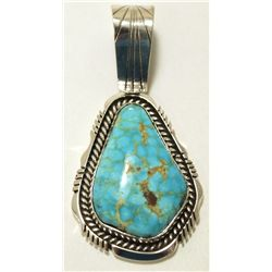 Navajo Lone Mountain Turquoise Sterling Silver Pendant - Eugene Belone