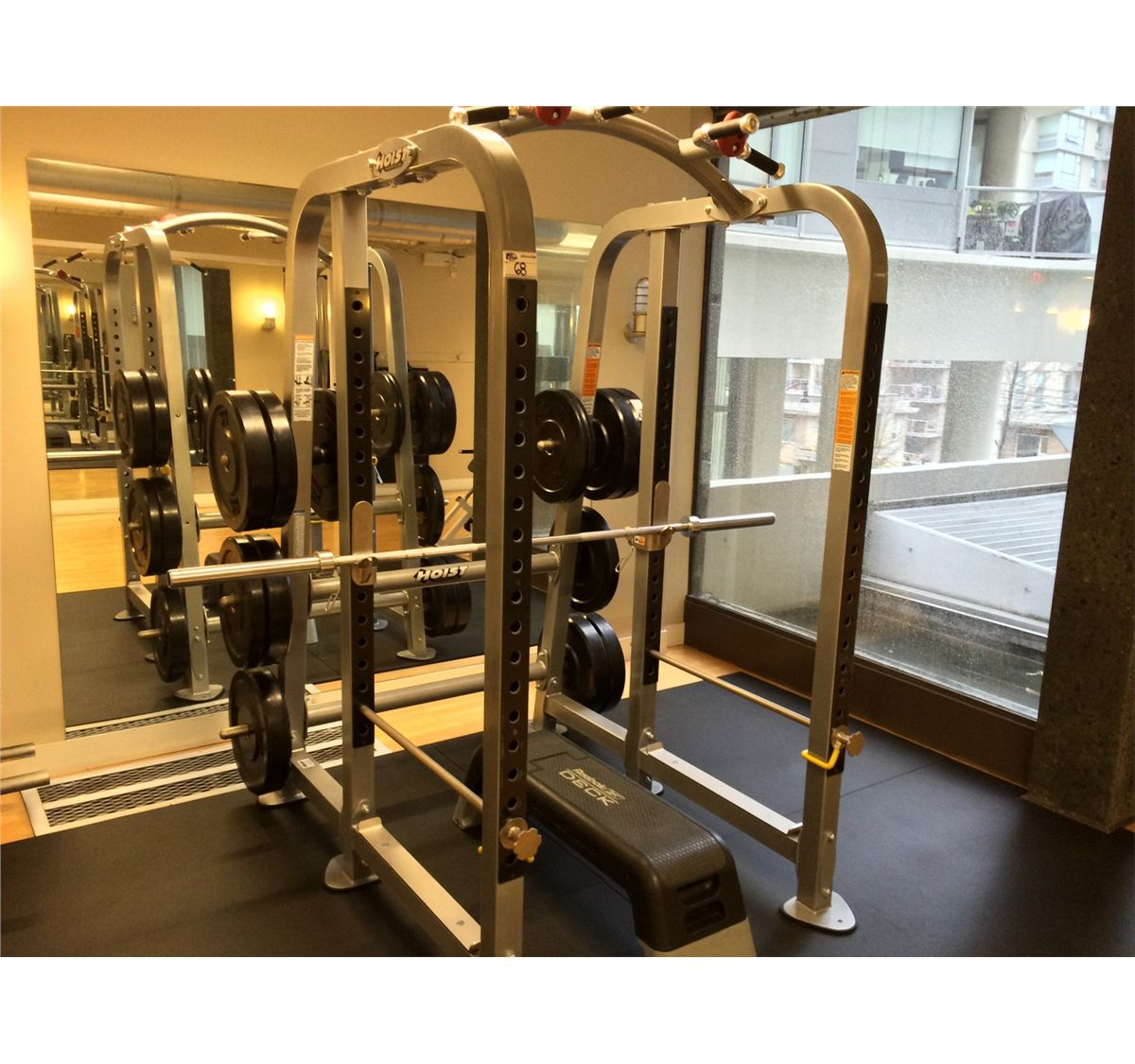 Hoist free weight bench press squat station with reebok for Squat station