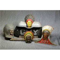 A Painted  Indian Chief  Guy Motors Lorry Mascot for Bonnet  Feathers in our...
