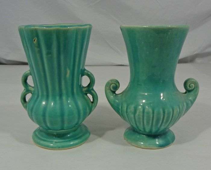 Two Mccoy Vases Aqua