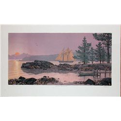 Mel Hunter, Columbia Heading Out,Signed Lithograph
