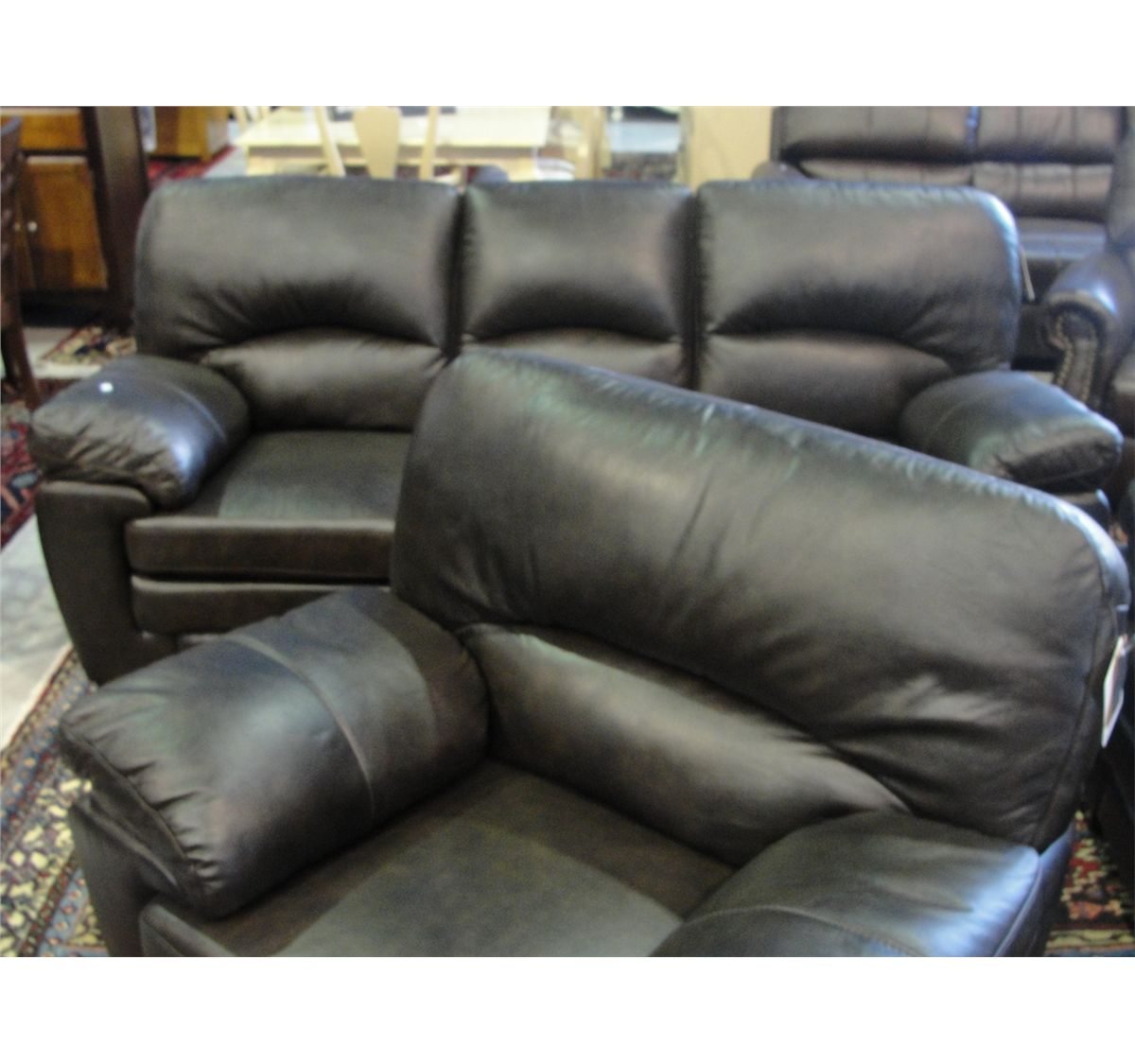 4 Piece Chocolate Brown Leather Sofa Set Sofa Loveseat Chair And Ottoman Able Auctions