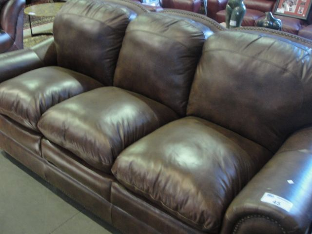 Brown leather studded sofa for Brown leather couch with studs