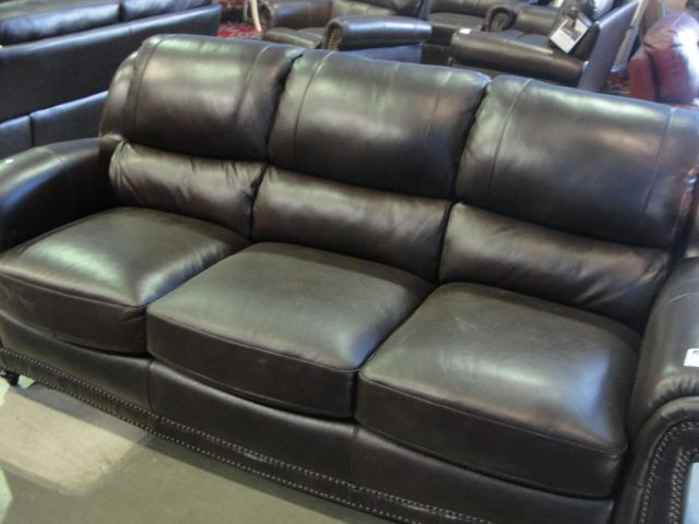 Chocolate brown leather studded sofa able auctions for Brown leather couch with studs