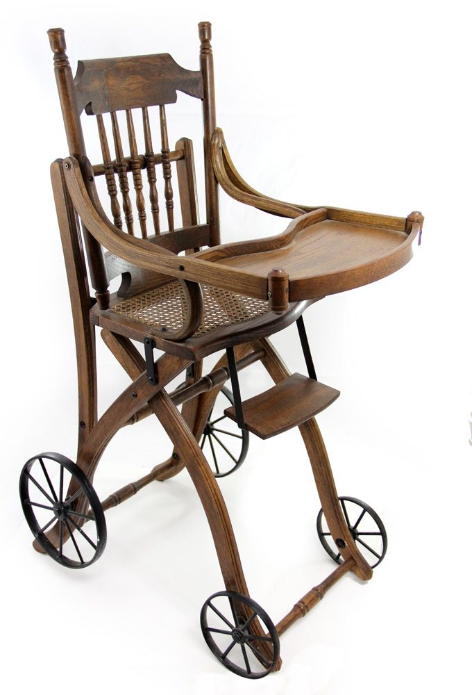 Image 1 : 1910s Antique Victorian Oak High Chair and Stroller ... - 1910s Antique Victorian Oak High Chair And Stroller