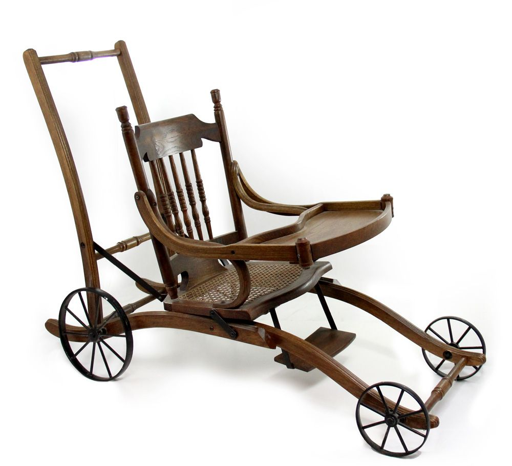 ... Image 2 : 1910s Antique Victorian Oak High Chair and Stroller - 1910s Antique Victorian Oak High Chair And Stroller