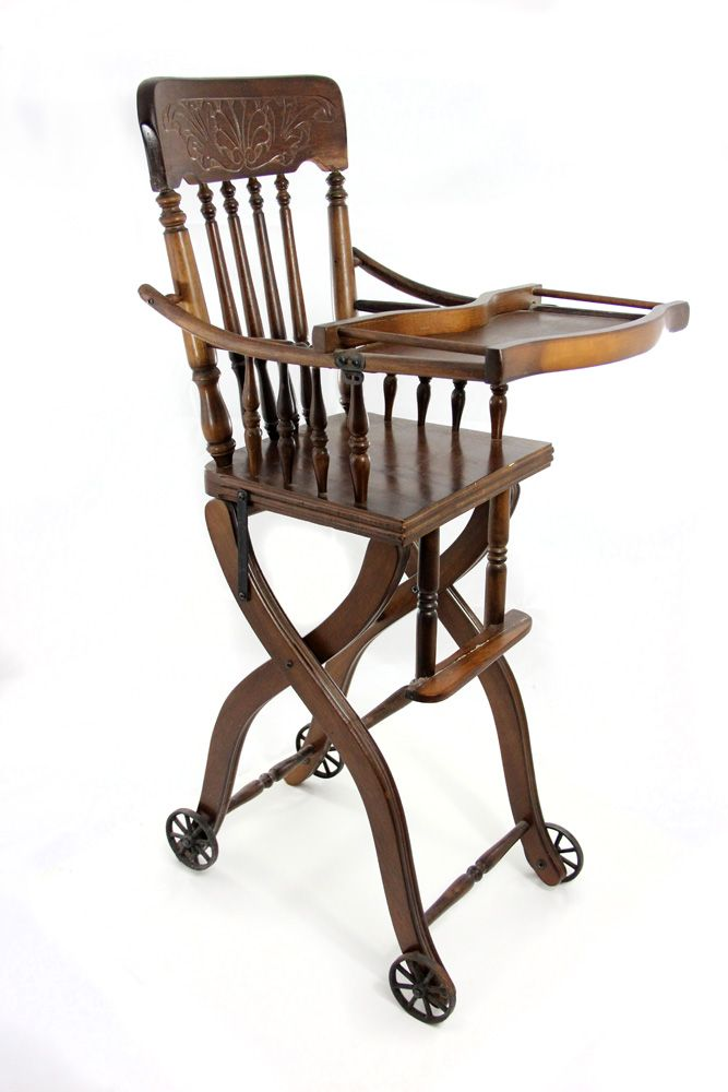 1920s Antique Victorian Oak High Chair and Stroller. Loading zoom - 1920s Antique Victorian Oak High Chair And Stroller