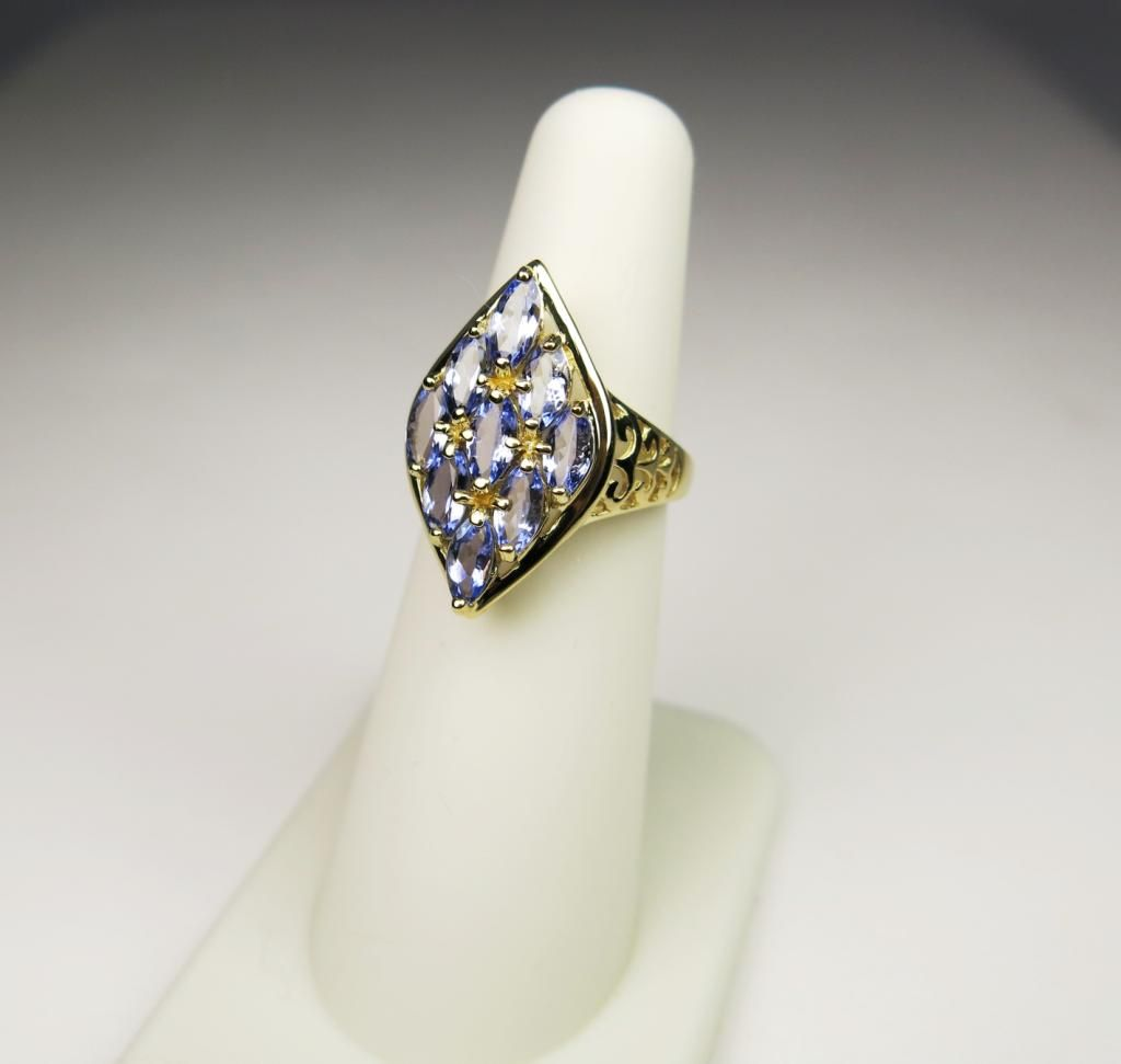 Lavender Tanzanite: Lovely Lavender Tanzanite Ring With 9 Marquis Cut