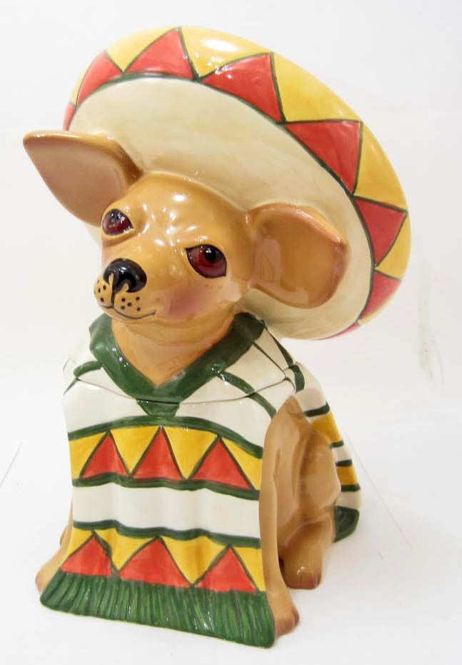 Chihuahua Cookie Jar Fascinating COOKIE JAR AY CHIHUAHUA CLAY ART 60 HAND PAINTED