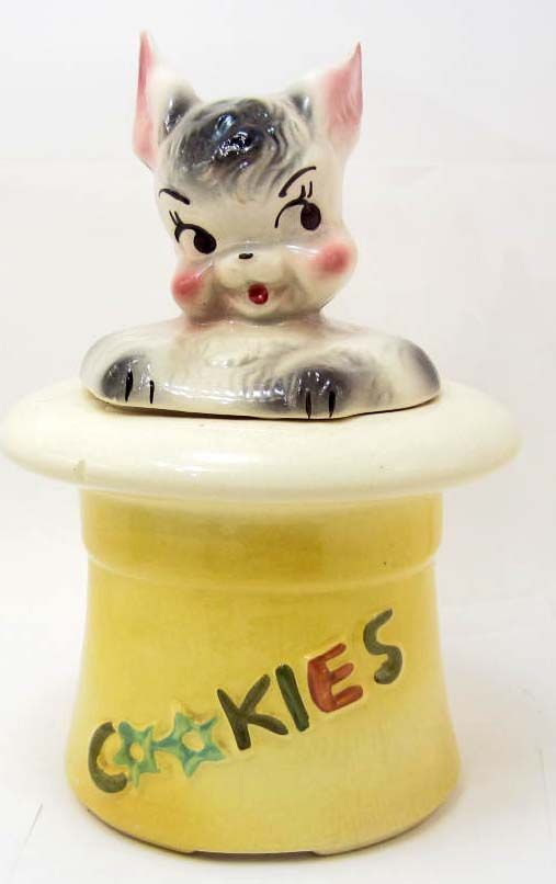 1950'S Cookie Jars Custom COOKIE JAR VINTAGE 60'S RABBIT IN HAT BISQUE USA
