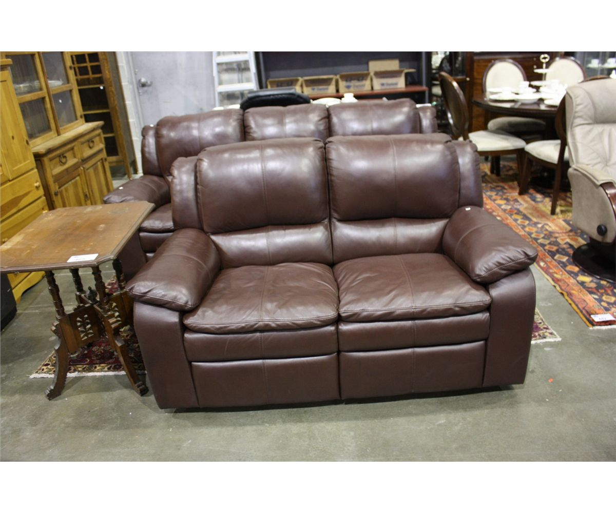 2pcs contemporary brown leather reclining sofa and love seat set. Black Bedroom Furniture Sets. Home Design Ideas