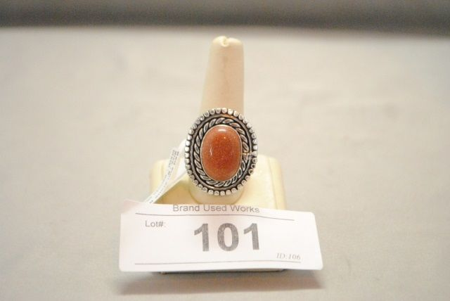 Silver Red Granite : German silver red stone ring