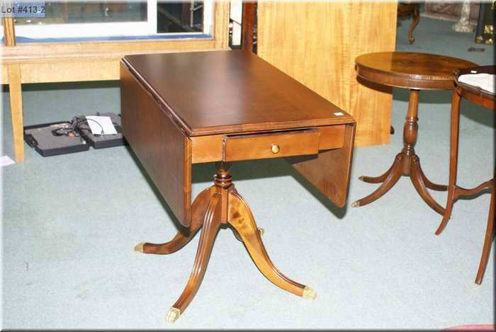 ... Image 2 : Antique Regency Style Drop Leaf Table With Single Pedestal  And Drawer